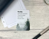 Custom Task Card - Pine Trees and Fog - Personalised Task Card for Your Planner - Add Tasks, Routines, Reminders - Functional, Minimal Deco