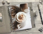 Winter Cinnamon Coffee Dashboard - Fits A5, B6, Personal Wide, Personal, A6, Pocket, Mini Ring Planners. Protective Cover.
