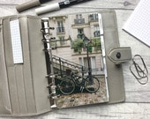 Personal Size Planner Dashboard - Protective Cover for your Ring Planner Inserts - Paris Bicycle & Lampost - Non-Inbox Version
