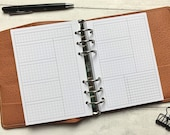 WO2P Left Side Day Undated Weekly with Tasks - Minimal Grid Printed Insert - A5, B6, Personal Wide, Personal, A6 and Pocket Ring Planners