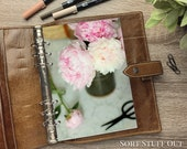 A5 Planner Dashboard - Protective Cover for Ring Planner Inserts - Peony Cuttings & Vase - Pink Floral