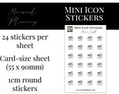 Mini Icon Stickers - Movie Night - Functional Stickers for Planning. Minimal Planner Deco for All Planners. 24 Stickers on One Sheet