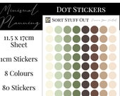 Summer Green Neutrals Planner Dot Stickers - Colour Code your Planning. Minimal Planner Deco for All Planners. 80 Stickers on One Sheet