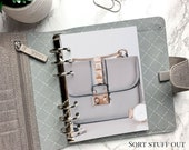 B6 Planner Dashboard - Protective Cover for Ring Planner Inserts - Grey Handbag - Rose Gold