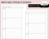Printable PDF Weekly Horizontal Grid WO2P Inserts for Personal Size Ring Planners