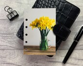 Pocket Size Planner Dashboard - Protective Cover for Ring Planner Inserts - Yellow Daffodil Far - Floral