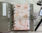 Personal Size Planner Dashboard - Protective Cover for your Ring Planner Inserts - Muted Peach Roses