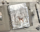 Winter Deer in Snow Dashboard - Fits A5, B6, Personal Wide, Personal, A6, Pocket, Mini Ring Planners. Protective Cover.