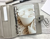 Personal Size Planner Dashboard - Protective Cover for your Ring Planner Inserts - Blanket, Hot Chocolate, Marshmallows - Neutral