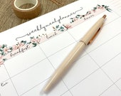 Pink Floral Meal Planner Tear-Off Pad. Get Organised With Meal Prep With This A4 Botanical Flower Desk Pad
