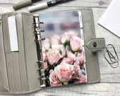 Personal Size Planner Dashboard - Protective Cover for your Ring Planner Inserts - Rose Cluster - Pink Floral