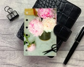 Pocket Size Planner Dashboard - Protective Cover for your Ring Planner Inserts - Peony Cuttings and Vase