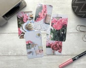 Journal Cards - Pink Peonies - 5 Pack for Planner Deco - Use as Bookmarks, Decoration - Clip and Card Holder Options