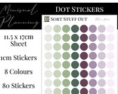 Plum Greens Planner Dot Stickers - Colour Code your Planning. Minimal Planner Deco for All Planners. 80 Stickers on One Sheet