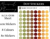 Autumn Leaves Planner Dot Stickers - Colour Code your Planning. Minimal Planner Deco for All Planners. 80 Stickers on One Sheet