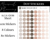 Brown Neutrals Planner Dot Stickers - Colour Code your Planning. Minimal Planner Deco for All Planners. 80 Stickers on One Sheet