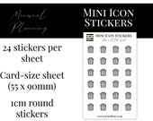 Mini Icon Stickers - Take out the Trash - Functional Stickers for Planning. Minimal Planner Deco for All Planners. 24 Stickers on One Sheet
