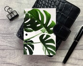 Pocket Size Planner Dashboard - Protective Cover for your Ring Planner Inserts - Tropical Leaves - Monstera