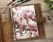 Close Up Magnolia - Pink Floral Dashboard - Fits A5, B6, Personal Wide, Personal, A6, Pocket, Mini Ring Planners. Protective Cover.