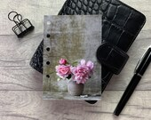 Pocket Size Planner Dashboard - Protective Cover for Ring Planner Inserts - Pink Peony Cluster in Vase - Floral
