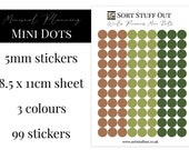 Winter Pine Cones Mini Dot Stickers - Mark off Dates and Occasions - Minimal Functional Stickers - Small Sheet fits in Most Planners