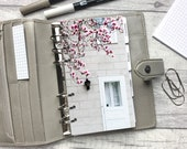 Personal Size Planner Dashboard - Protective Cover for your Ring Planner Inserts - Pink Magnolia & White Door - Non-Inbox Version
