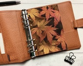 Autumn Large Maple Leaves Dashboard - Fits A5, B6, Personal Wide, Personal, A6, Pocket, Mini Ring Planners. Protective Cover.