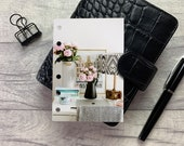 Pocket Size Planner Dashboard - Protective Cover for your Ring Planner Inserts - Peonies and Desk