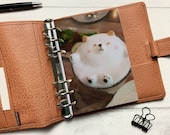 Coffee Latte Art Dog Dashboard - Fits A5, B6, Personal Wide, Personal, A6, Pocket, Mini Ring Planners. Protective Cover.