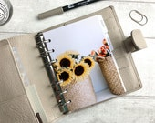 A6 Size Planner Dashboard - Protective Cover for Ring Planner Inserts - Sunflower Basket - Floral