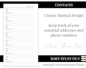 Contacts - Minimal Classic Design for Addresses - Printed Insert - A5, B6, Personal Wide, Personal, A6, Pocket and Mini Ring Planners