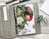 Personal Size Planner Dashboard - Protective Cover for your Ring Planner Inserts - Bunch of Flowers