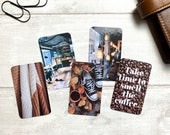 Journal Cards - Smell the Coffee - 5 Pack for Planner Deco - Use as Bookmarks, Decoration - Clip and Card Holder Options