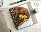 A6 Size Planner Dashboard - Protective Cover for Ring Planner Inserts - Brown Blanket Yellow Flowers - Floral