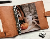 Autumn Coffee Mug & Pumpkin Dashboard - Fits A5, B6, Personal Wide, Personal, A6, Pocket, Mini Ring Planners. Protective Cover.