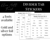 Divider Label Stickers - SET 2 - Clear Matt Stickers to Use on Your Ring Planner Tabs - 20mm Size. Great for Planner Organisation!