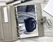 Black Mug, Book and Grey Blanket Dashboard - Fits A5, B6, Personal Wide, Personal, A6, Pocket, Mini Ring Planners. Protective Cover. Minimal