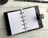 PRINTED - Basic Grid Design - Functional Week WO2P with Notes Inserts - for Filofax Mini Ring Planner. Minimal Design.