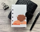 Pocket Size Planner Dashboard - Protective Cover for your Ring Planner Inserts - Burnt Orange Abstract Sunset