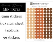 Autumn Reds Mini Dot Stickers - Mark off Dates and Occasions - Minimal Functional Stickers - Small Sheet fits in Most Planners
