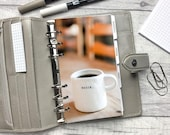 Begin - Coffee Cup - Motivation Dashboard - Fits A5, B6, Personal Wide, Personal, A6, Pocket, Mini Ring Planners. Protective Cover.