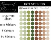 Pine Cone Forest Planner Dot Stickers - Colour Code your Planning. Minimal Planner Deco for All Planners. 80 Stickers on One Sheet