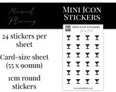Mini Icon Stickers - Going Out - Functional Stickers for Planning. Minimal Planner Deco for Planners. 24 Stickers on One Sheet