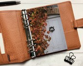Autumn Leaves and Front Door - Rustic Dashboard - Fits A5, B6, Personal Wide, Personal, A6, Pocket, Mini Ring Planners. Protective Cover.