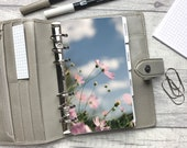 Personal Size Planner Dashboard - Protective Cover for your Ring Planner Inserts - Blue Sky Pink Flowers