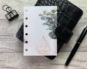 Pocket Size Planner Dashboard - Protective Cover for Ring Planner Inserts - Rose Gold Geometric - Eucalyptus - Foliage