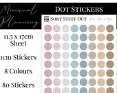 Pink, Blue and Brown Planner Dot Stickers - Colour Code your Planning. Minimal Planner Deco for All Planners. 80 Stickers on One Sheet