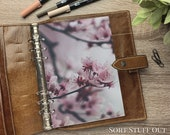 A5 Planner Dashboard - Protective Cover for Ring Planner Inserts - Close Up Cherry Blossom - Sakura - Pink Floral