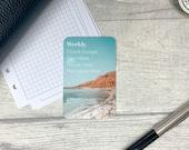 Custom Task Card - Blue Coastal - Personalised Task Card for Your Planner - Add Tasks, Routines, Reminders - Functional, Minimal Deco