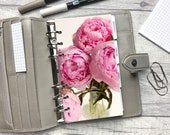 Personal Size Planner Dashboard - Protective Cover for your Ring Planner Inserts - Pink Peonies